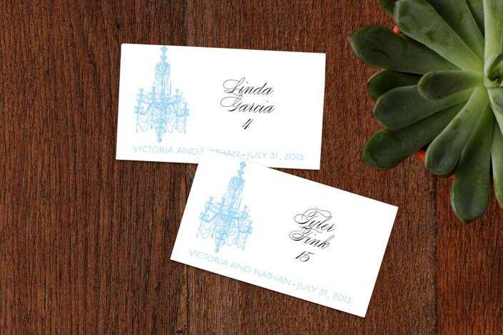 """Chandelier"" - Formal, Elegant Wedding Place Cards in Summer Sky by Splendid Press."