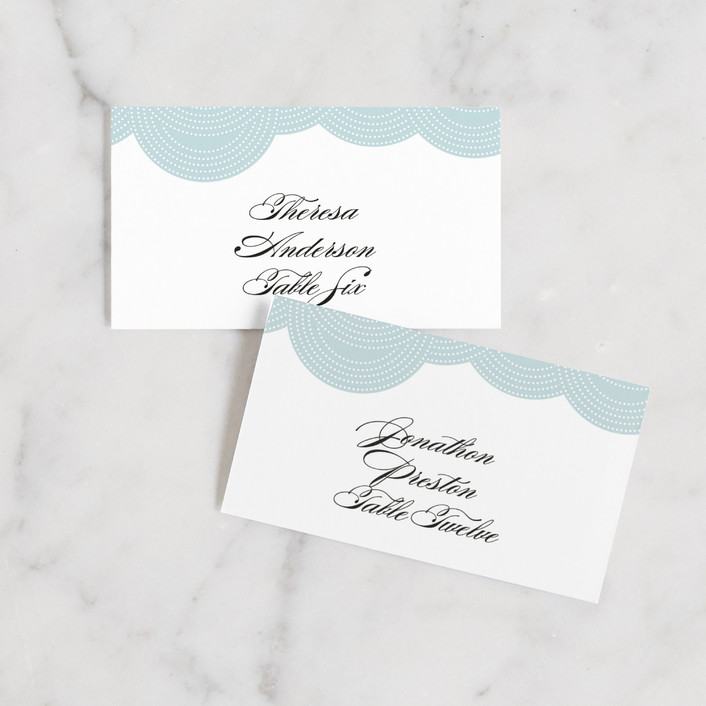 """Pearls on a String"" - Elegant, Formal Wedding Place Cards in Blue Cloud by annie clark."