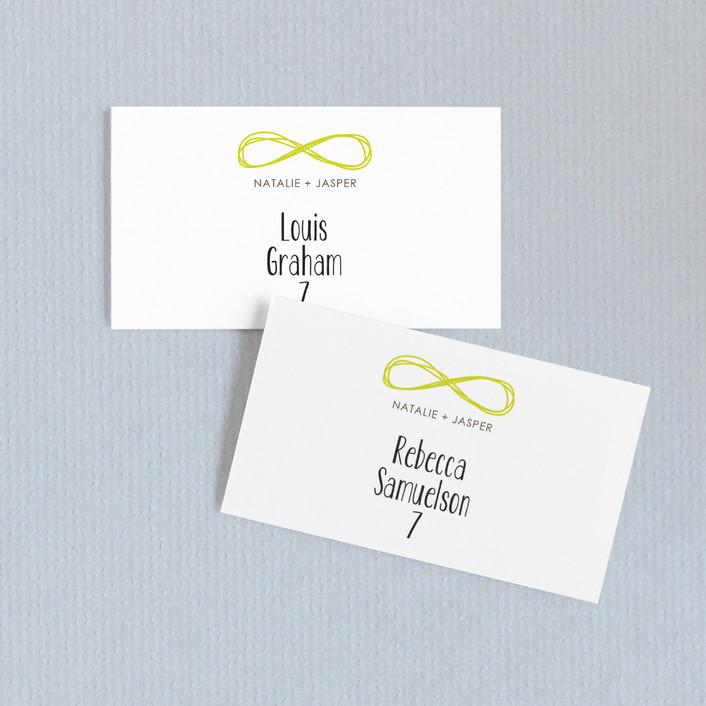"""Infinite"" - Wedding Place Cards in Bright Lime by The AV Design Factory."