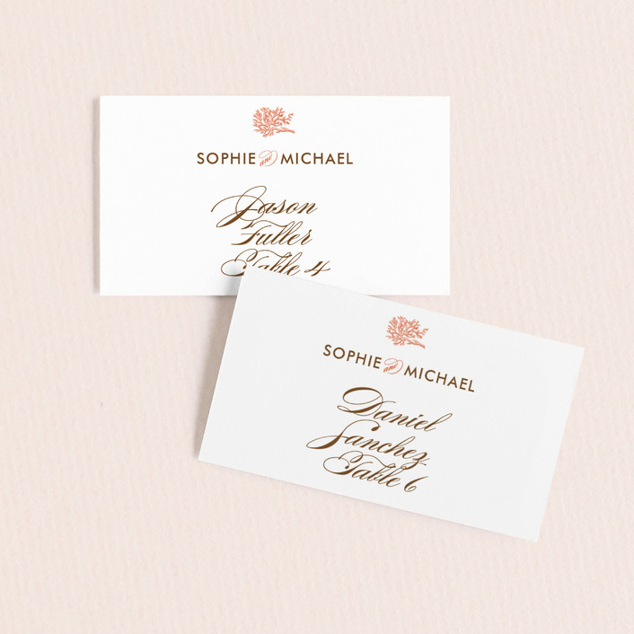 """Coral"" - Beach Wedding Place Cards in Tangelo by Oscar & Emma."