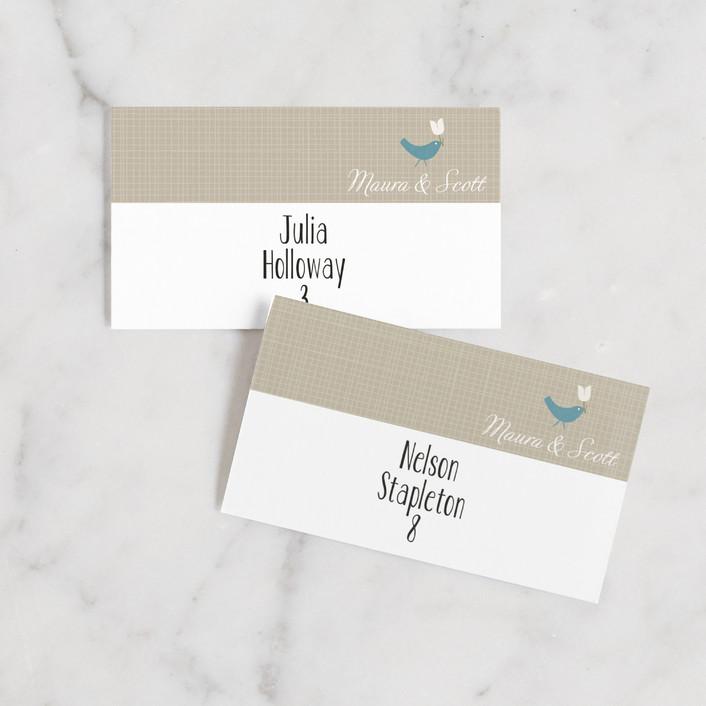 """SWEET LINEN"" - Rustic Wedding Place Cards in Light Denim by Carrie Eckert."