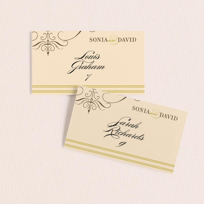 """French Vintage"" - Elegant, Formal Wedding Place Cards in Fresh Peach by annie clark."