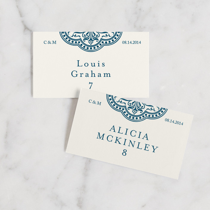 """""""Ornamental"""" - Wedding Place Cards in Sapphire by Paperview Designs."""