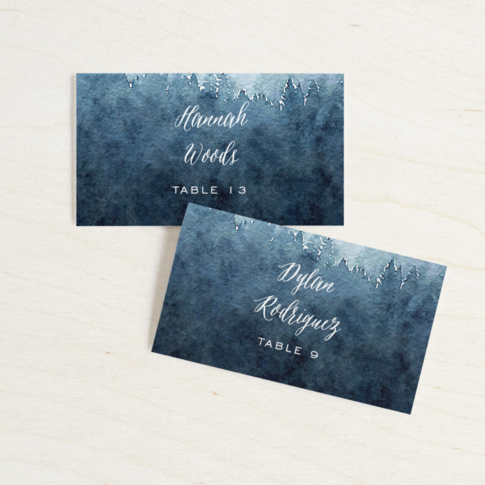 """""""Mountain Retreat"""" - Rustic Wedding Place Cards in Evening Sky by Design Lotus."""