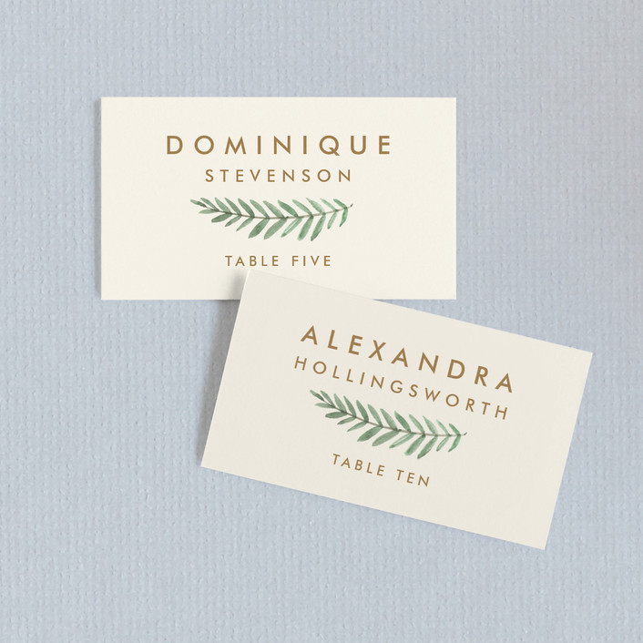 """Painted Ferns"" - Wedding Place Cards in Cream by Amy Kross."