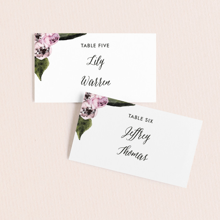 """""""Peony"""" - Wedding Place Cards in Ice Mist by Cass Loh."""