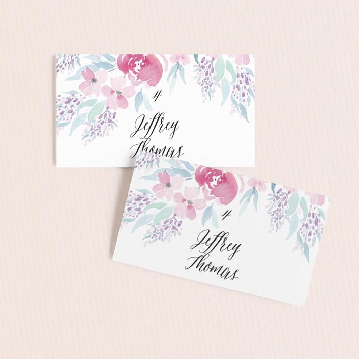 """""""Poetic Watercolor Flowers"""" - Wedding Place Cards in Petal by Qing Ji."""