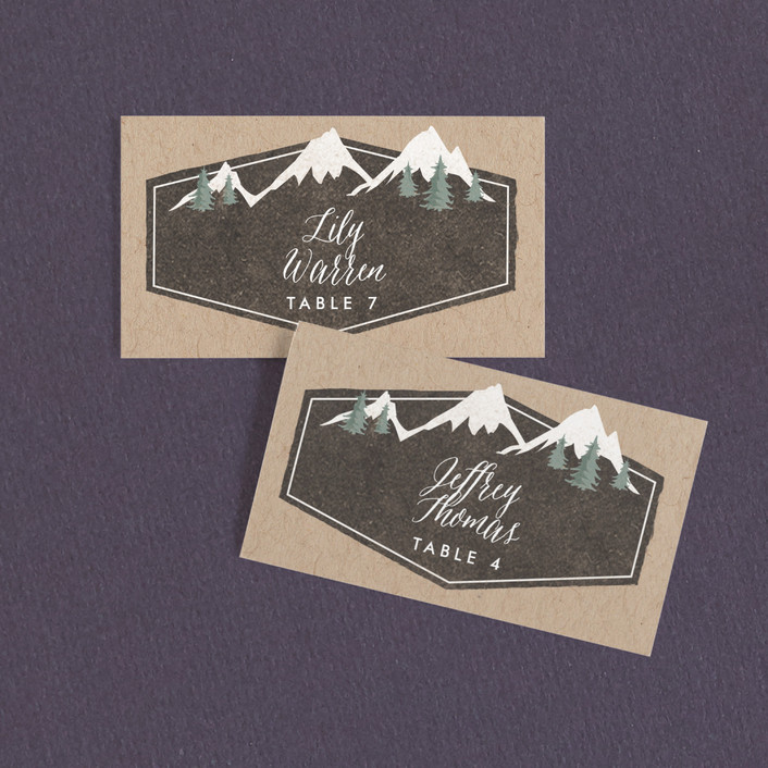 """Rustic Mountain"" - Wedding Place Cards in Charcoal by Karidy Walker."