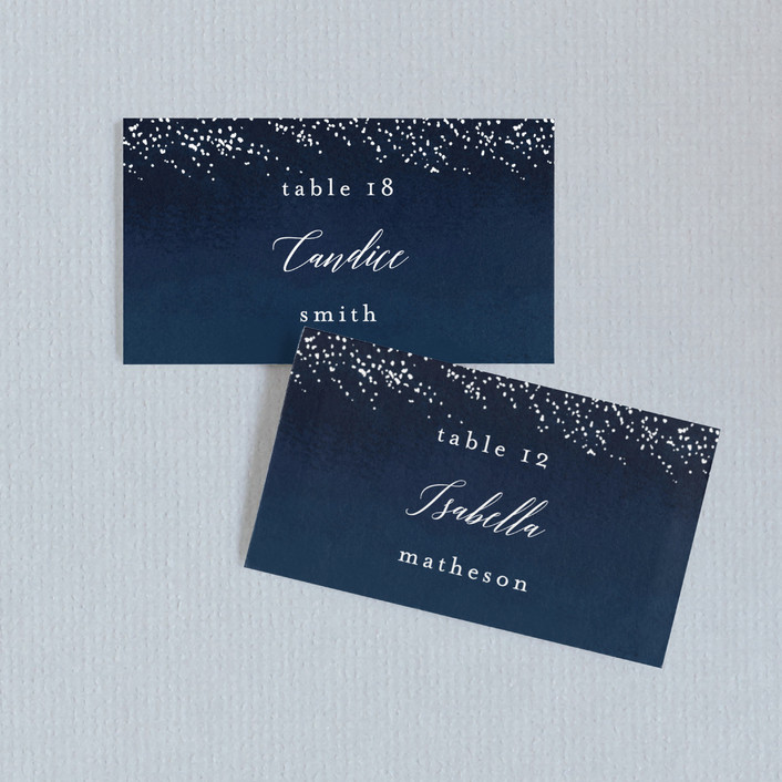 """""""Shimmering Trees"""" - Rustic Wedding Place Cards in Midnight by Kelly Schmidt."""