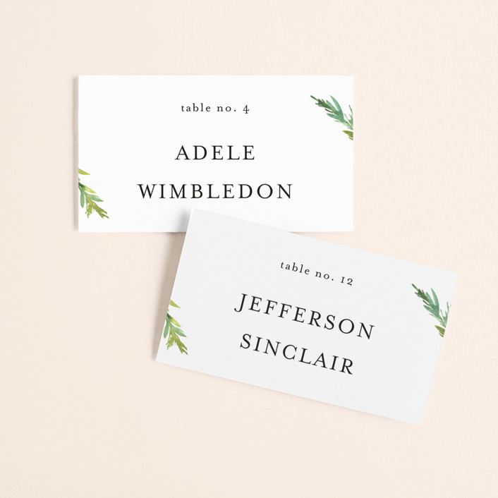 """Simple Pine Branches"" - Rustic Wedding Place Cards in Vanilla by Mere Paper."