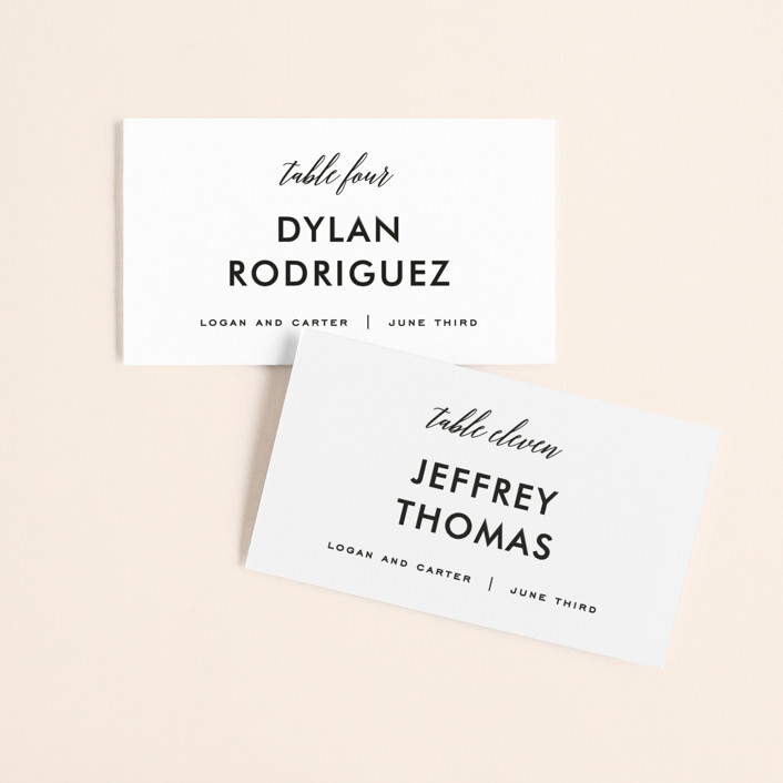 """Someone Like You"" - Wedding Place Cards in Tuxedo by Design Lotus."