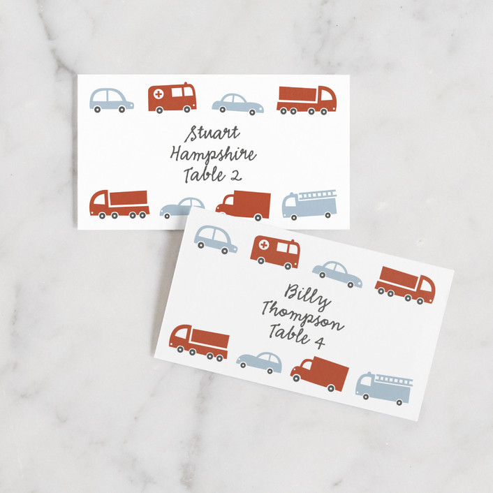 """Beep Beep"" - Wedding Place Cards in Pale Blue by Susan Asbill."