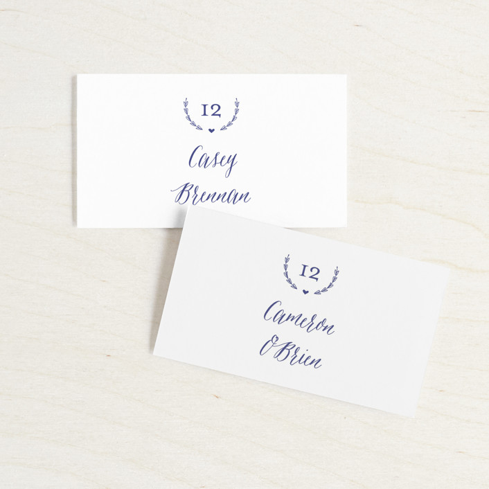 """""""United"""" - Wedding Place Cards in Cobalt by Susan Brown."""