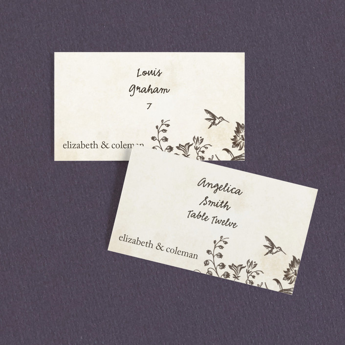"""Story Book"" - Wedding Place Cards in Winter Cream by Jody Wody."