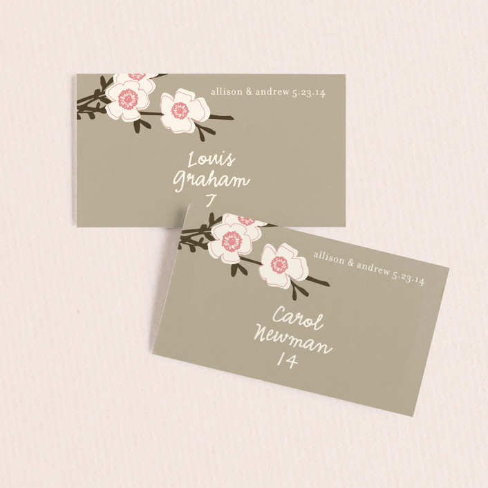 """Apple Blossom"" - Floral & Botanical Wedding Place Cards in Blush by annie clark."