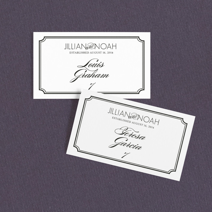 """Modern Classic"" - Modern Wedding Place Cards in Black by annie clark."