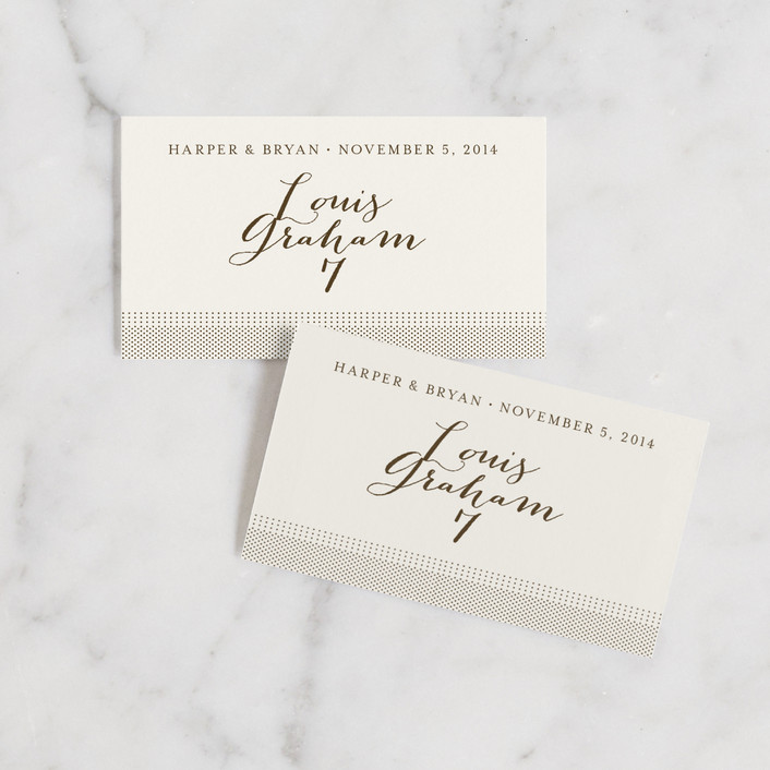 """Modern Crest"" - Rustic Wedding Place Cards in Gravy by Milkmaid Press."