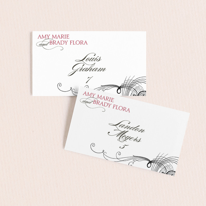 """Amy"" - Elegant, Typography Wedding Place Cards in Berry Red by Splendid Press."