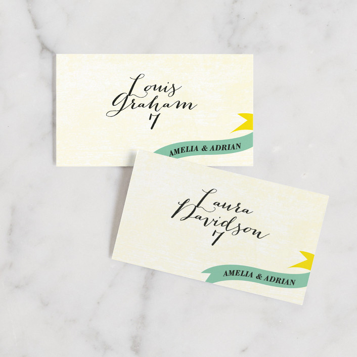 """Vintage Ranch"" - Vintage, Typography Wedding Place Cards in Aqua by Andres Montaño."