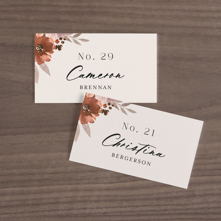 """""""Emyn"""" - Wedding Place Cards in Burgundy by Itsy Belle Studio."""