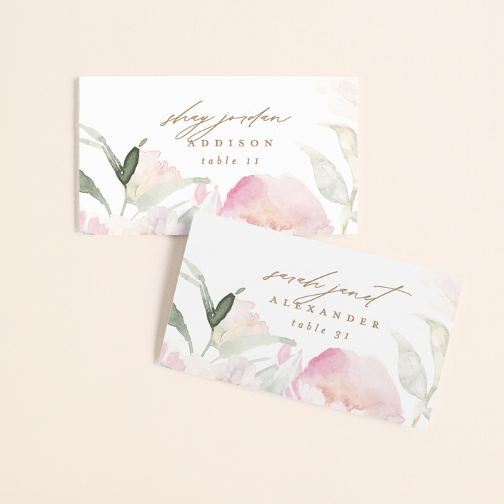 """""""beautiful peonies"""" - Wedding Place Cards in Spring by Phrosne Ras."""