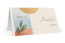 This is a beige wedding place card by Laura Bolter called Essence with standard printing on signature in placecard.