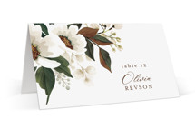 This is a beige wedding place card by Chris Griffith called A Garden Wedding with standard printing on signature in placecard.