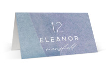 This is a blue wedding place card by Olivia Raufman called Alchemy with standard printing on signature in placecard.