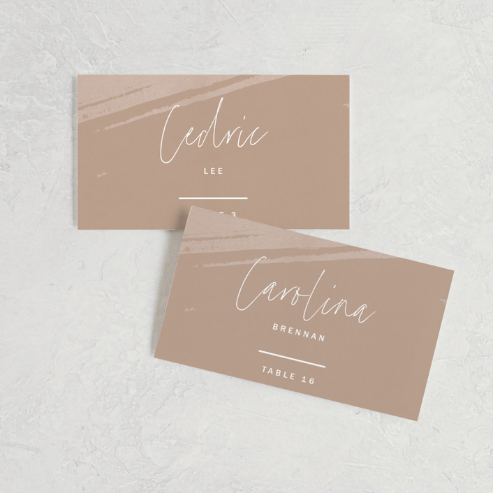 """""""Luna"""" - Modern Wedding Place Cards in Latte by Blustery August."""