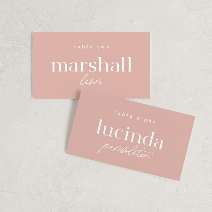 """""""Party Accordingly"""" - Funny Wedding Place Cards in Blush by Caitlin Considine."""