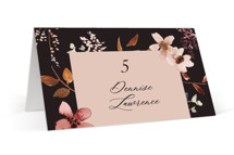 This is a black wedding place card by Petra Kern called Silky Way with standard printing on signature in placecard.