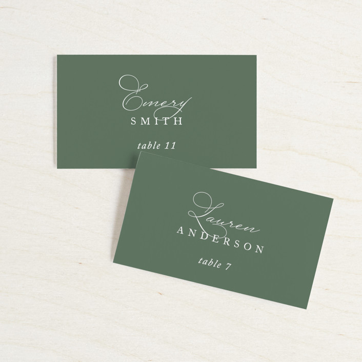 """Initial"" - Wedding Place Cards in Sage by Jennifer Postorino."