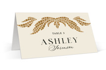 This is a brown wedding place card by GeekInk Design called Floral mosaic with standard printing on signature in placecard.