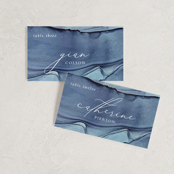 """""""Slate"""" - Wedding Place Cards in Blue Jasper by Erin Deegan."""