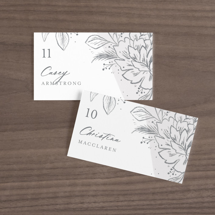 """""""Loving"""" - Wedding Place Cards in Cloudy by Paper Raven Co.."""