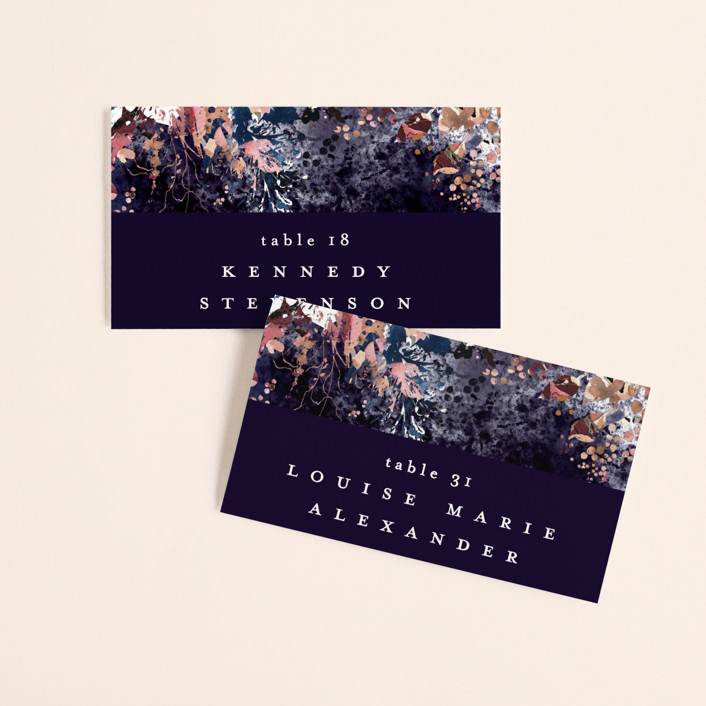 """""""Floral Cascade"""" - Wedding Place Cards in Navy by Phrosne Ras."""