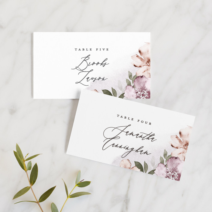 """""""Fancifully"""" - Wedding Place Cards in Dust Mauve by Everett Paper Goods."""