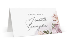 This is a purple wedding place card by Everett Paper Goods called Fancifully with standard printing on signature in placecard.