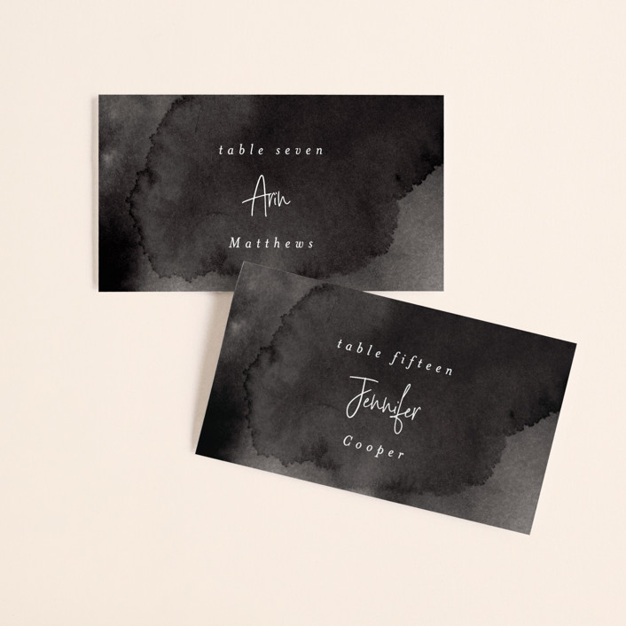 """""""Eloquent"""" - Wedding Place Cards in Coal by Mansi Verma."""