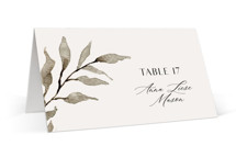 This is a brown wedding place card by Chris Griffith called Rural Romance with standard printing on signature in placecard.
