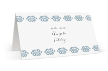 This is a blue wedding place card by Liz Conley called Painted Ikat with standard printing on signature in placecard.