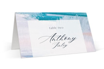 This is a blue wedding place card by Nicole Walsh called Sand & Sun with standard printing on signature in placecard.