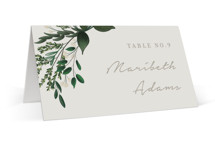 This is a green wedding place card by Kaydi Bishop called Watermark with standard printing on signature in placecard.