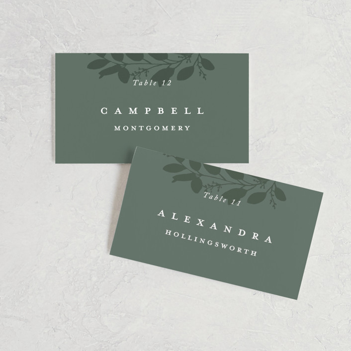 """Falling Branch"" - Wedding Place Cards in Eucalyptus by Amy Kross."