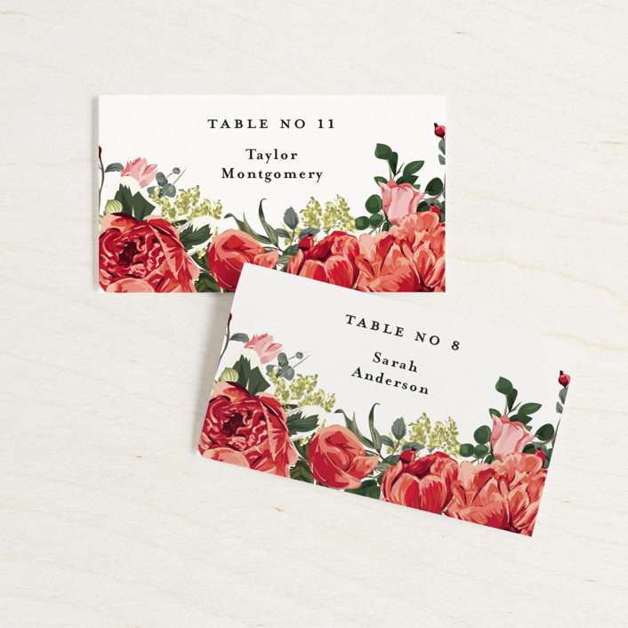 """""""Peonies Forever"""" - Wedding Place Cards in Coral by Susan Moyal."""