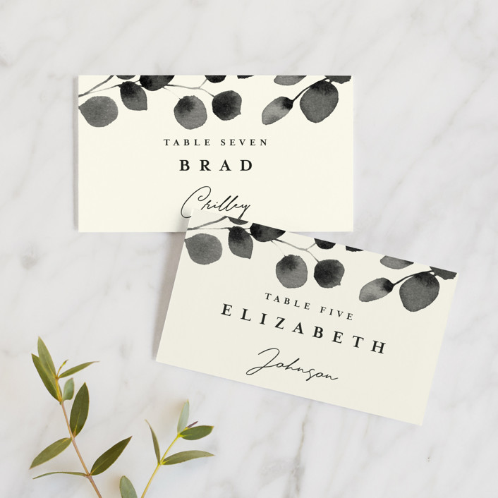 """Silver Dollar Eucalyptus"" - Wedding Place Cards in Ivory by Four Wet Feet Studio."