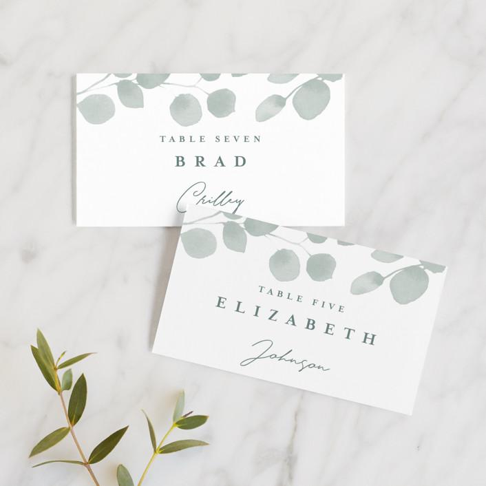 """Silver Dollar Eucalyptus"" - Wedding Place Cards in Silver Dollar by Four Wet Feet Studio."