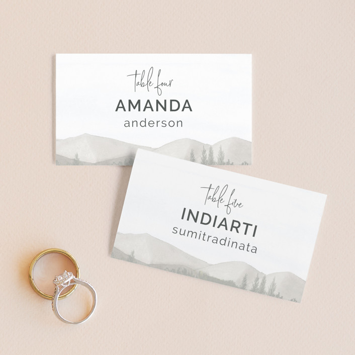 """""""muted mountains"""" - Rustic Wedding Place Cards in Splendid Day by Deborah Chou."""