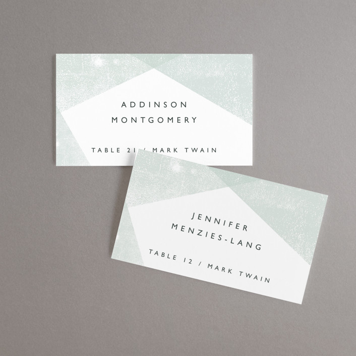 """Elegantly Minimal"" - Wedding Place Cards in Seafoam by itsjensworld."