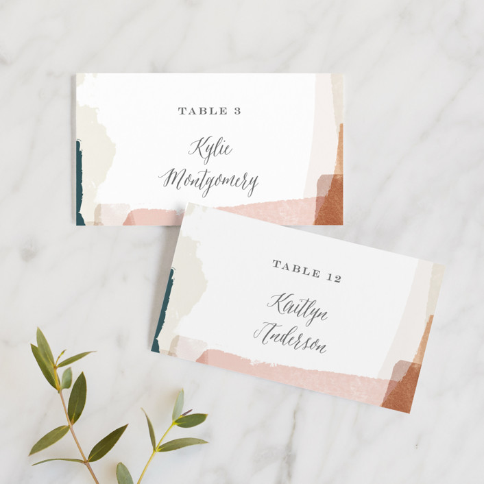 """""""Overlapping"""" - Modern Wedding Place Cards in Blush by Jennifer Wick."""